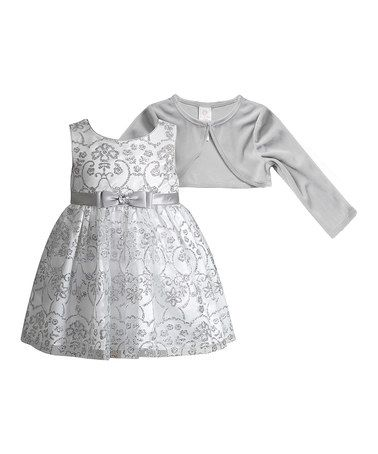 df3da6ee883c1 Look what I found on  zulily! White   Silver Glitter Dress   Shrug -  Infant