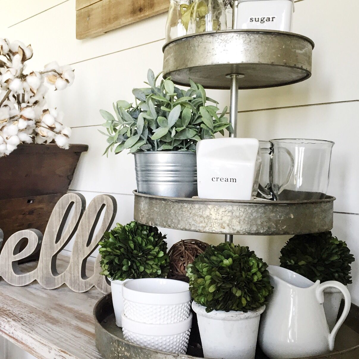 3 tiered galvanized tray with farmhouse decor