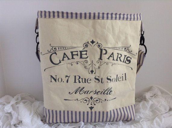 ParisTote/Handbag With heavy Canvas & Blue Pillow by AliaBella
