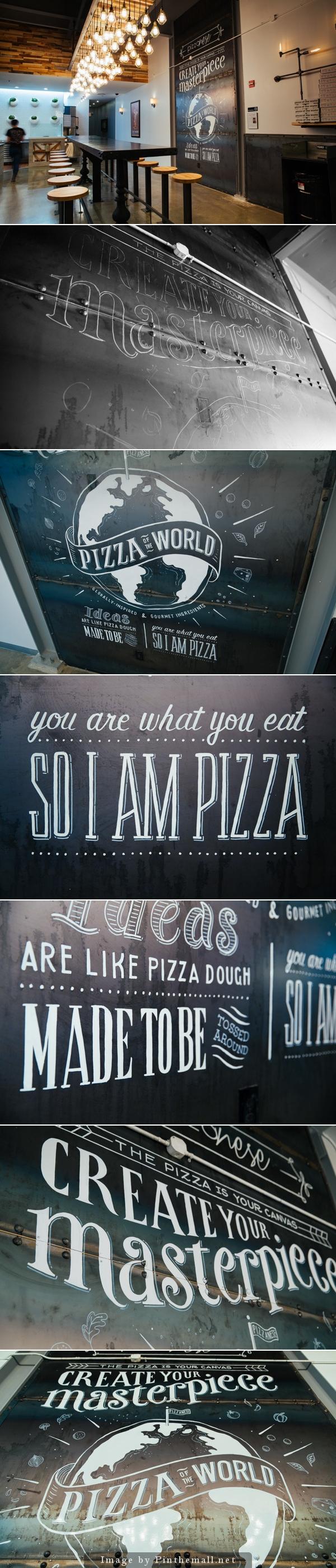 lettering and illustration mural for pizzanese street. Black Bedroom Furniture Sets. Home Design Ideas