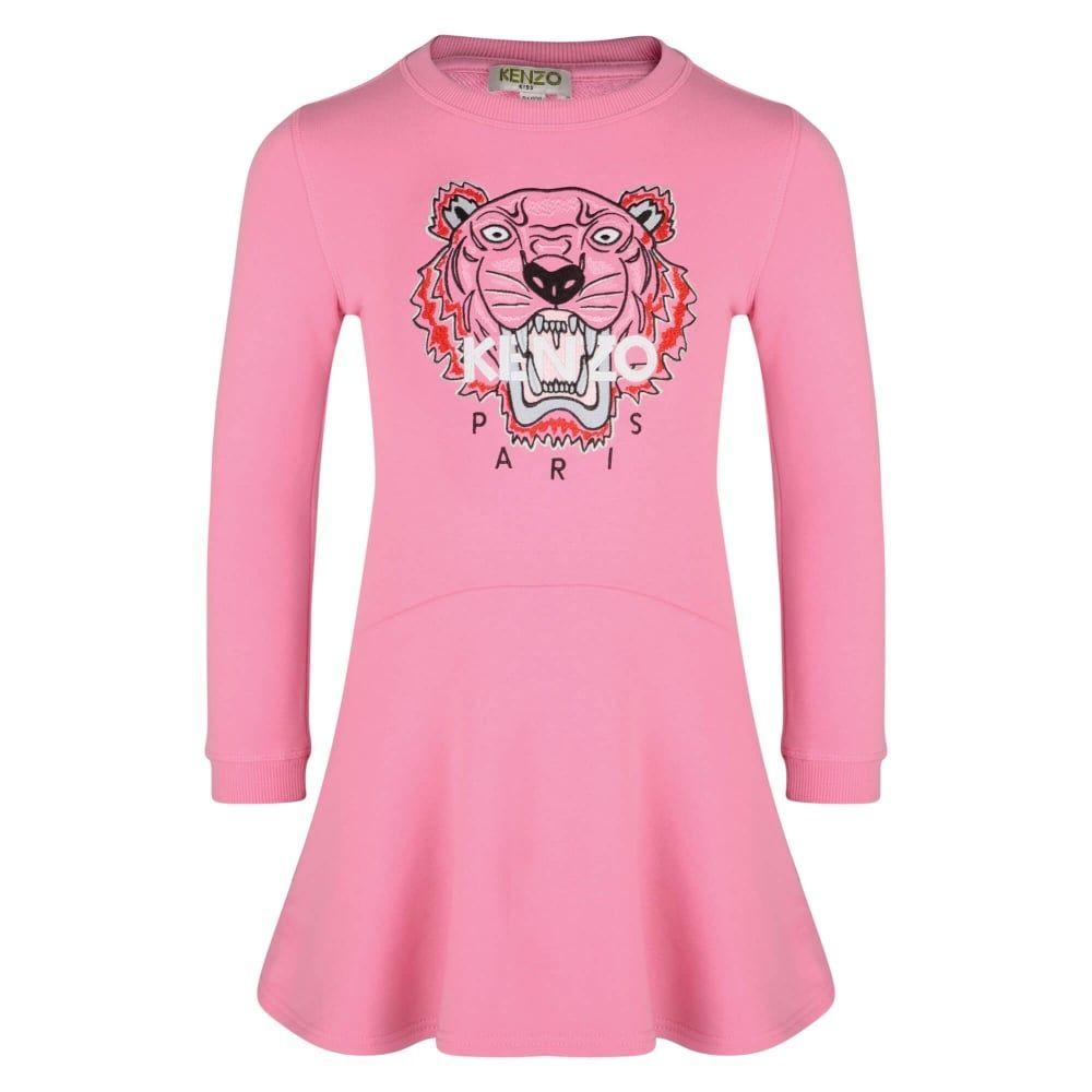 aec776d144 Kenzo Kids Girls Pink Tiger Logo Sweatshirt Dress   Besties   Kenzo ...