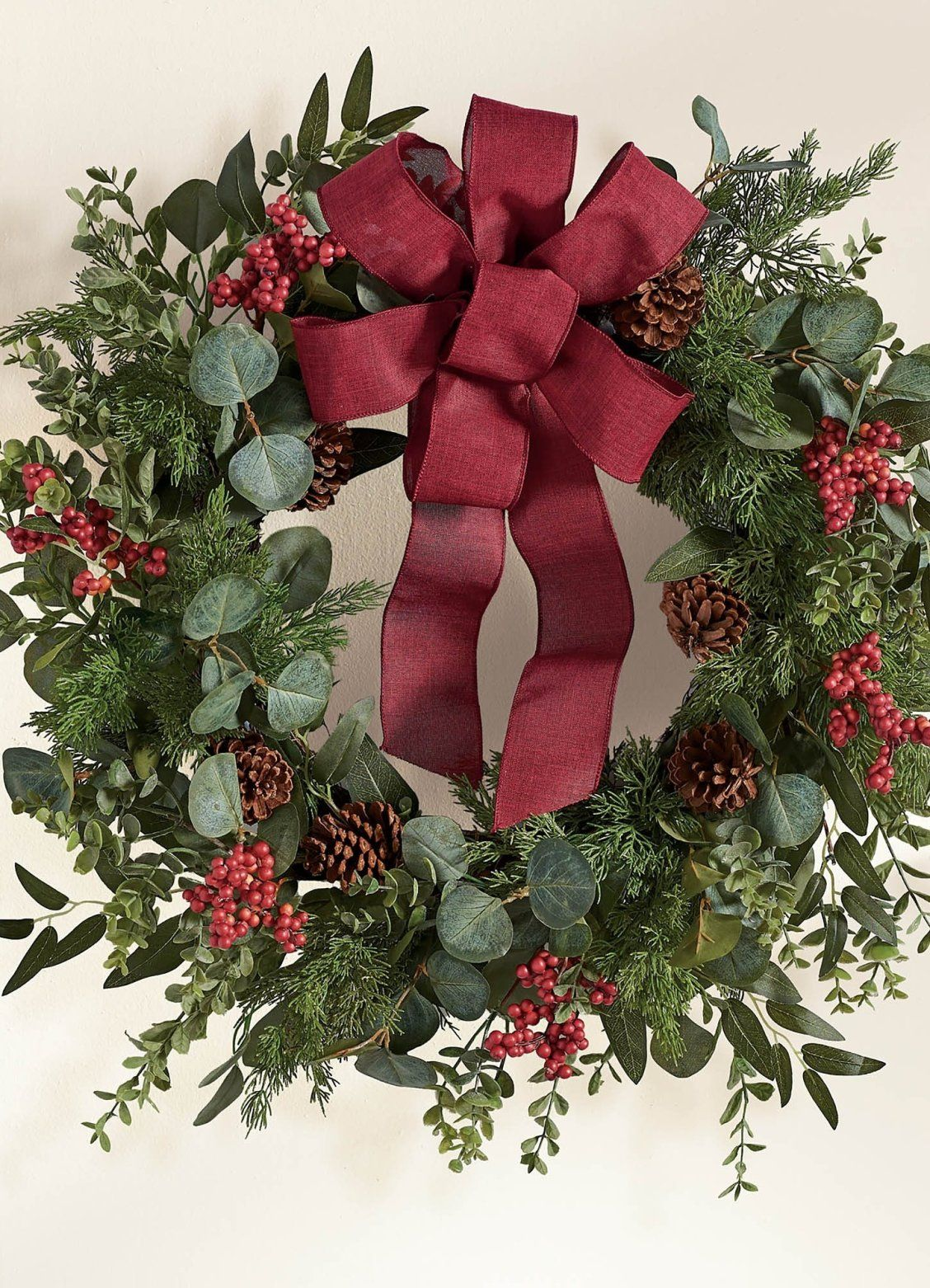 Eucalyptus Wreath With Bow Grandin Road In 2020 Eucalyptus Wreath Wreaths Christmas Wreaths