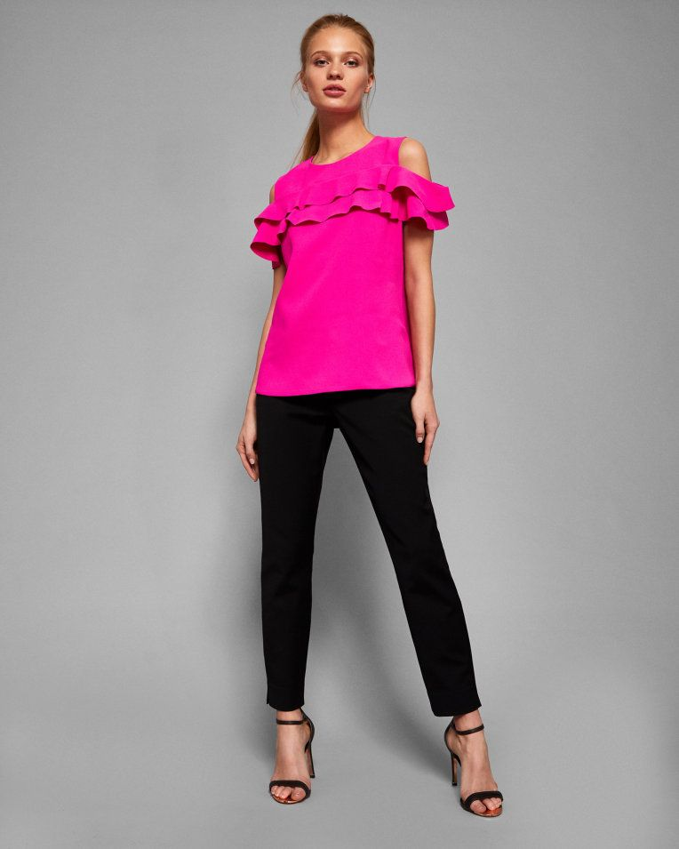 489e05a28dffd Cold shoulder double frilled top - Bright Pink