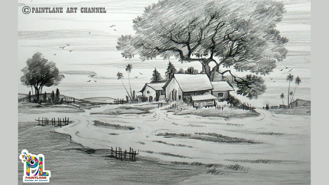 Learn simple village scenery drawing and shading with easy