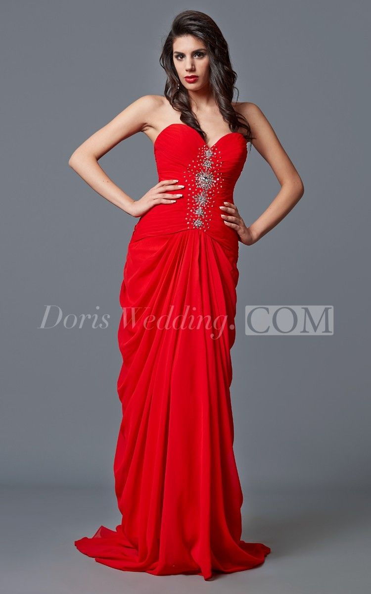 Sweetheart ruffled beaded long prom dress with slit red dress long