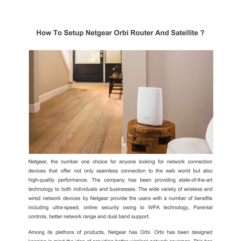 How To Setup Netgear Orbi Router And Satellite ? Netgear