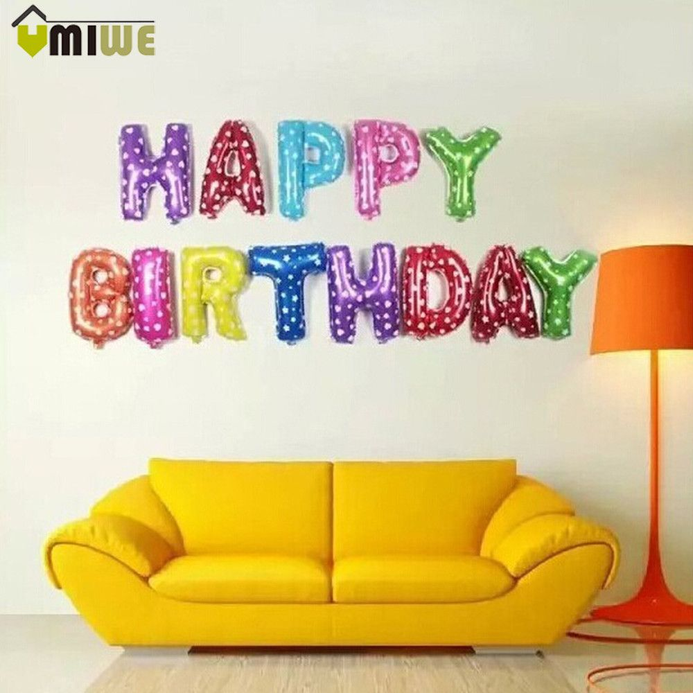 Happy Birthday Balloon Alphabet Letters Aluminum Foil Membrane ...