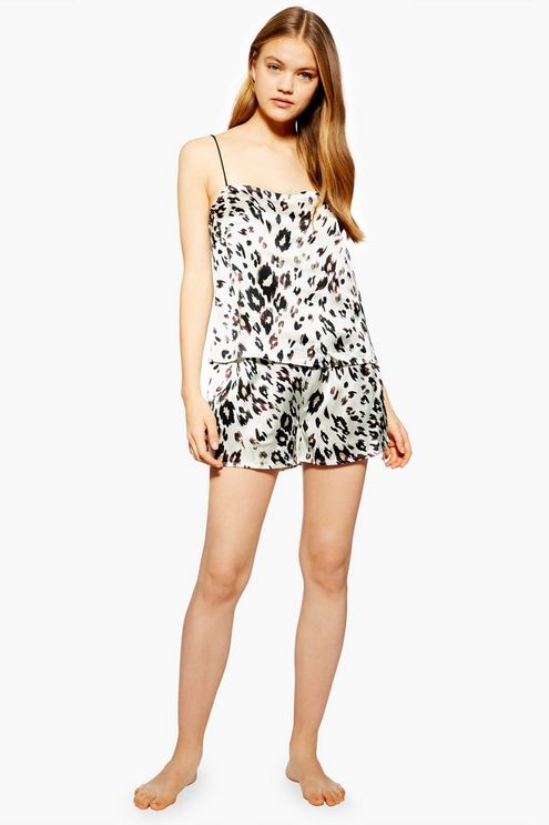 7e16cf73b29 Womens Leopard Print Satin Camisole and Shorts Pyjama Set - Multi