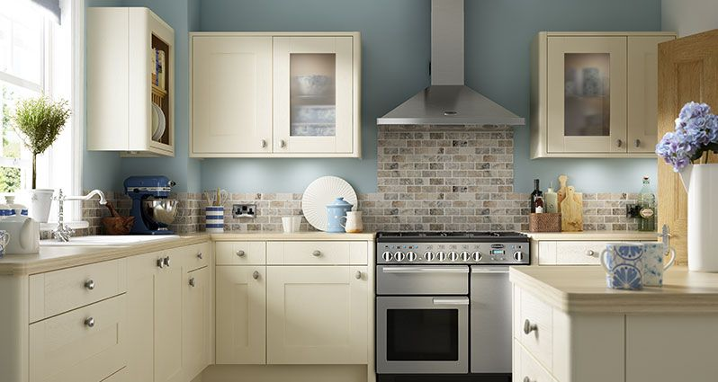 Wickes Milton bone cream kitchen plus blue accents | Bitchin ...