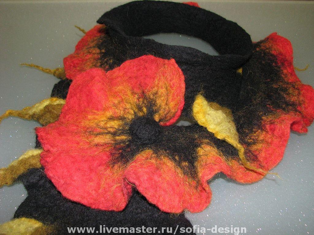 """шарф""""Мак"""" - ярко-красный,шарф женский,шарф валяный,маки,весеннее настроение"""