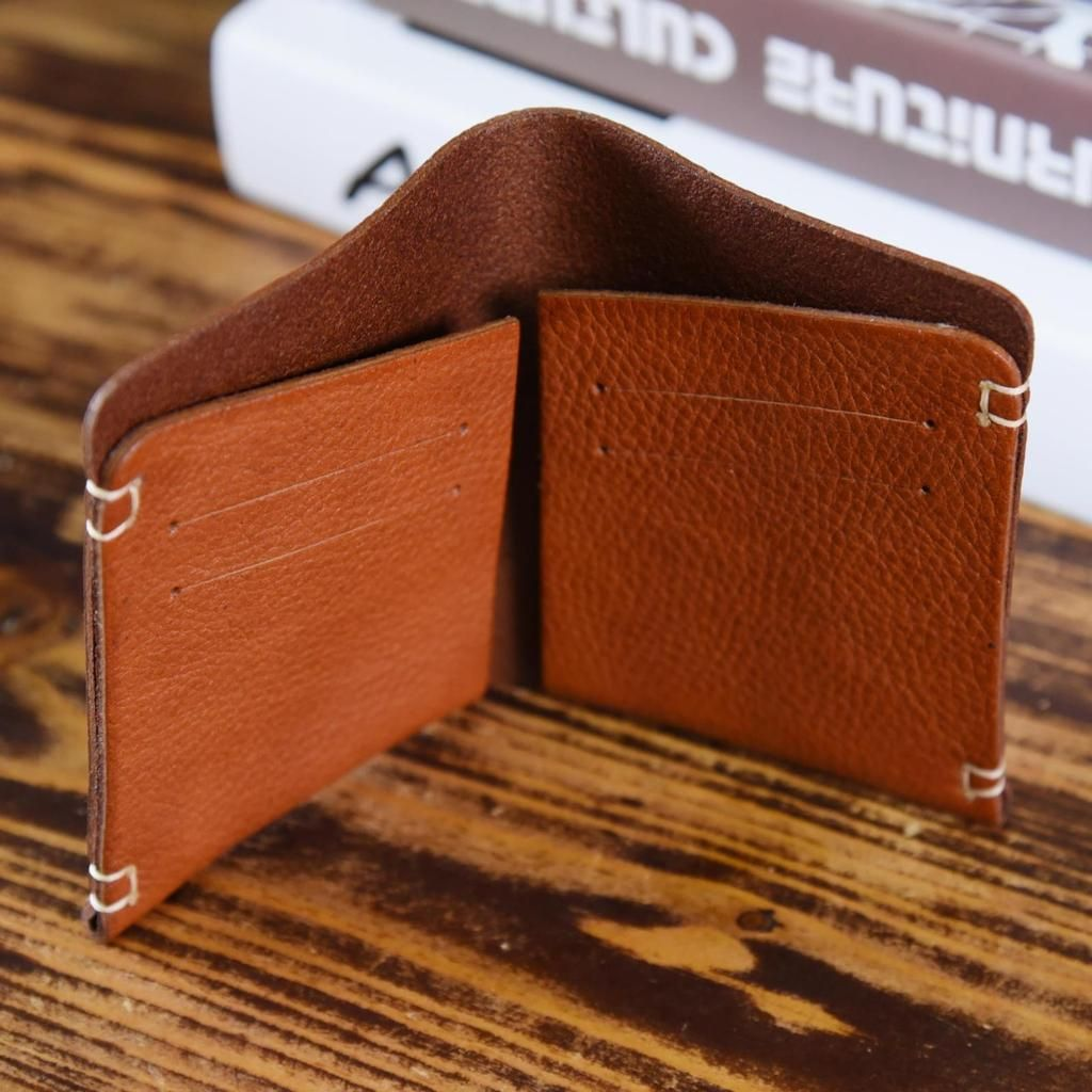 Leather Card Holder Handmade Yellow Credit Card Wallet Leather Slim Shirt Wallet