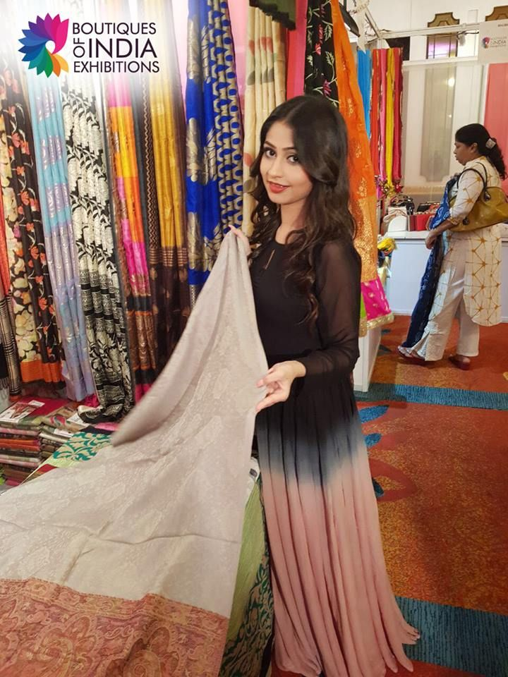 Actress Poonam Mishra checking out the attires at