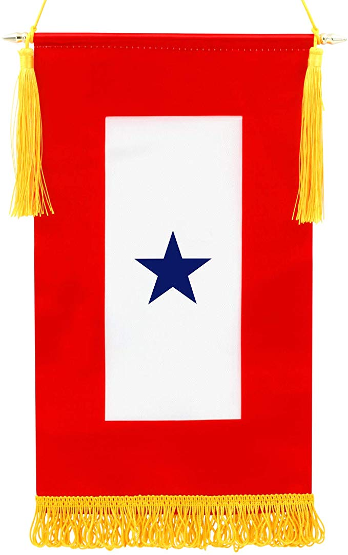 Amazon Com Anley Military Service Banner Usa Family Member On Service One Blue Star 15 X 8 Fringed Flag Wooden Flagpole Flag Blue Star Vivid Colors