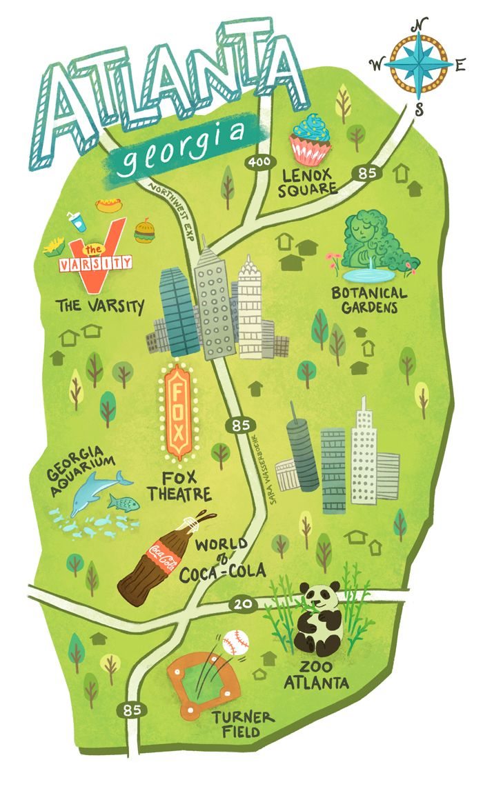 Illustrated maps of Atlanta GA Austin TX and Seattle