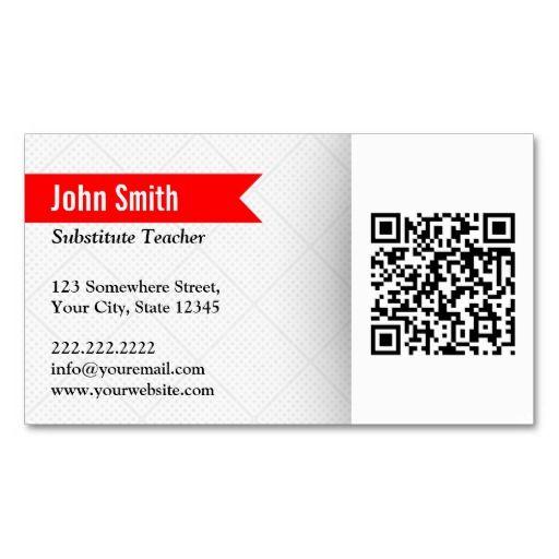 Modern QR Code Substitute Teacher Business Card QR Code Business - Substitute teacher business card template