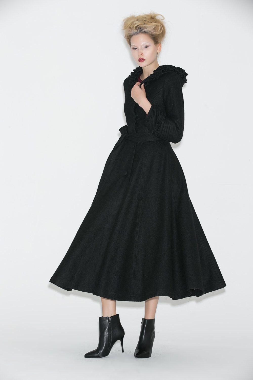 Long black coat warm wool elegant womens coat with ruffles hood