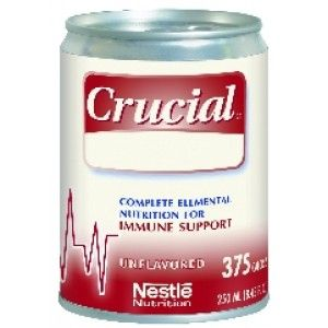 CRUCIAL-UNFLAVORED 250ML * Unflavored * Meets HCPCS Code: B4153 * Diets:lactose-free,gluten-free,low-residue,low-cholesterol * Formulated for immune support of critically ill patients * Nutrition designed to support healing of stage 3,4 pressure ulcers or non-healing wounds * Peptide-based to support nitrogen retention & utilization * 15g/L arginine to help support immune function * Lipid blend includes 4.3g/L of combined DHA & EPA to support immune function,plus 50% MCT to facilitate…