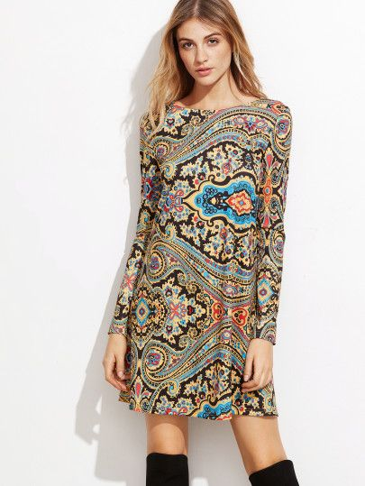 24248ec3604c3c Tunika Kleid Paisley Druck -bunt | clothes | Tunika kleid, Kleider ...