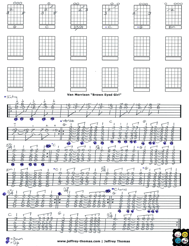 Free Guitar Tab For Brown Eyed Girl By Van Morrison Learn To Play