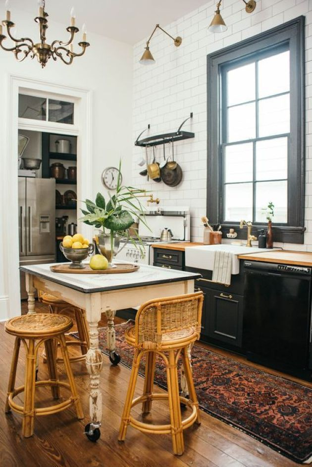 eclectic kitchen pairing black cabinets with neutral countertops eclectic kitchen eclectic on boho chic kitchen table decor id=69954