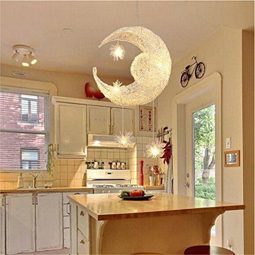 Egomall Mond Stern Pendelleuchten Kronleuchter Kreative Deckenleuchte Mit 5  Leuchten Für Kinder Schlafzimmer Wohnzimmer: Amazon.de: Beleuchtung