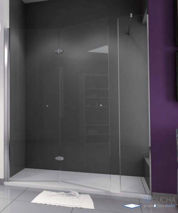 Mampara de ducha Plegable Asuán. Con 2 Hojas Plegables y 1 Fija. Perfil en Aluminio Anodizado en Cromo Alto Brillo y Tratamiento Antical Incluido