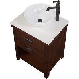Style Selections Cromlee 24 In Bark Single Sink Bathroom Vanity With White Engineered Stone Top Bathroom Vanity Single Sink Bathroom Vanity Vanity