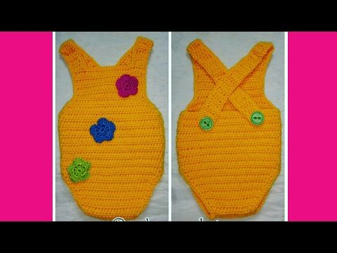 Pelele en crochet para bebé de 0 a 2 meses muy fácil - YouTube