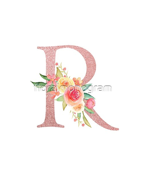 Monogram R In Glittery Pink Blush Embellished With Pretty Pink And Yellow Flowers Leaves And Foliage Perfect Monogr In 2020 Pretty In Pink Floral Monogram Blush Pink