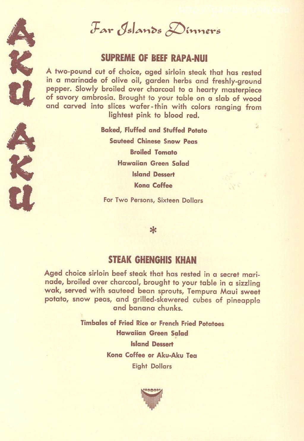Menu Page For The Old Aku Aku Tiki Lounge In Las Vegas They Both