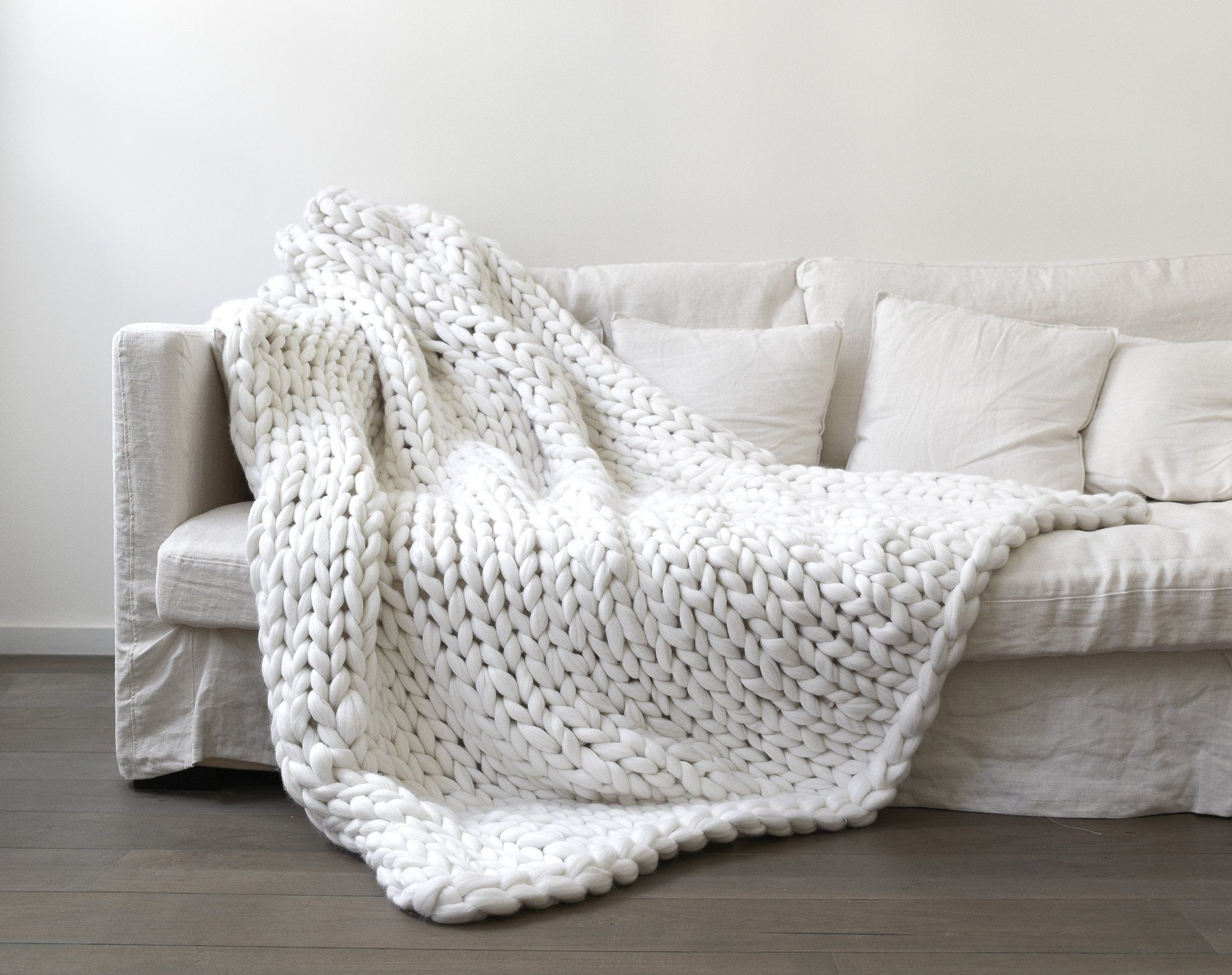 couverture extra large 160 x 200cm en laine 100% mérinos tricotée
