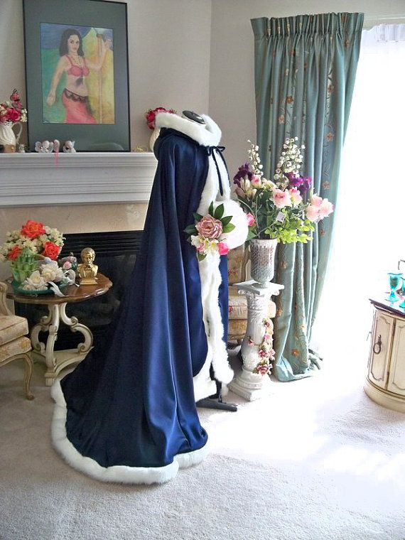 9e93bc7f40696 Victorian Bridal cape 73 inch Navy Blue   IVORY Satin with Fur Trim ...