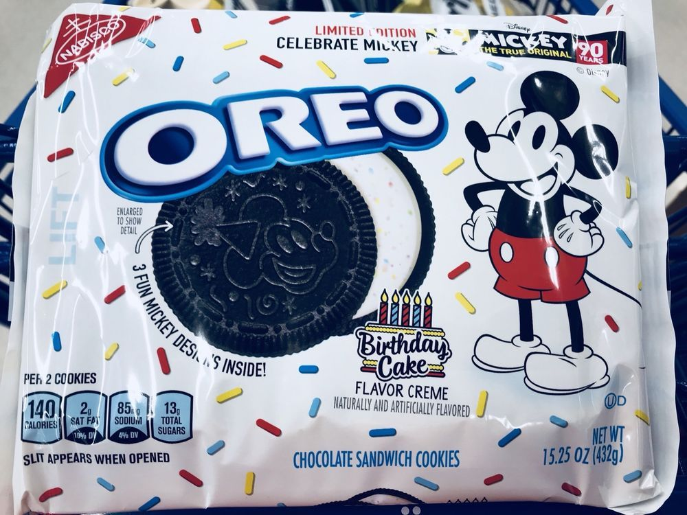 1 Pk Disney Mickey Mouse Limited Edition Birthday Cake Oreo Cookie