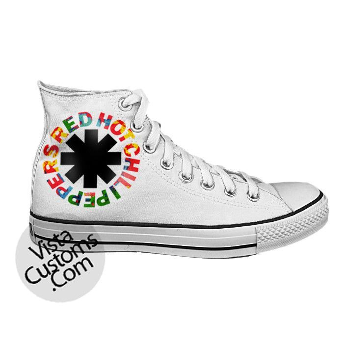 69ee09b4de2e5 Red Hot Chili Peppers Rock Band Logo White shoes New Hot Shoes ...