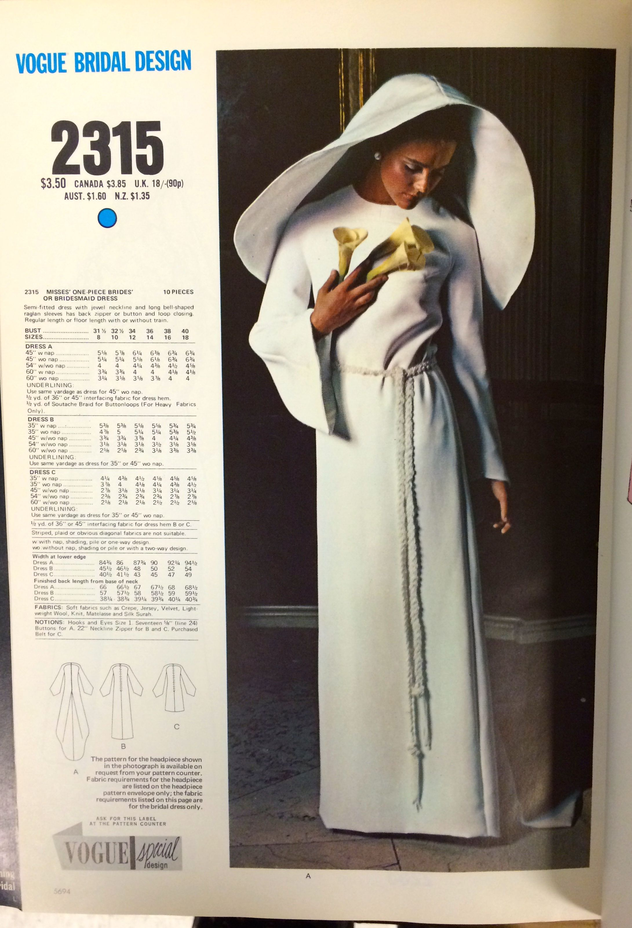 Wedding Gown Pattern From A 1971 Vogue Patterns Catalog