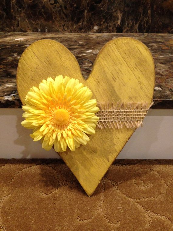 Modern Primitive wood heart with burlap and flower. Rustic heart ...