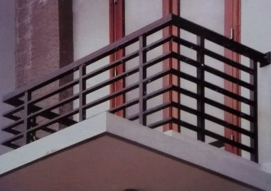 Add horizontal elements all wood not aluminum as shown for Balcony steel railing designs pictures