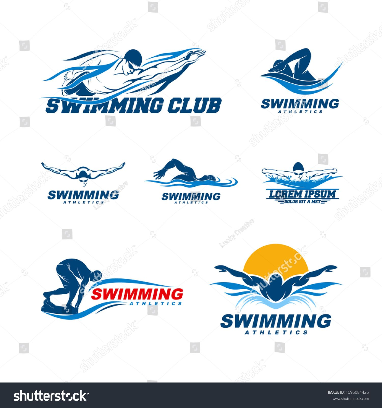 Set Of Swimming Logo Designs Vector Creative Swimmer Logo Vector
