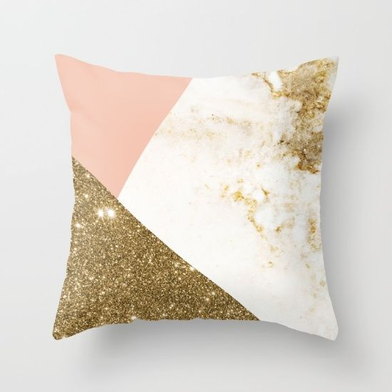 gold marble collage throw pillow - Gold Decorative Pillows