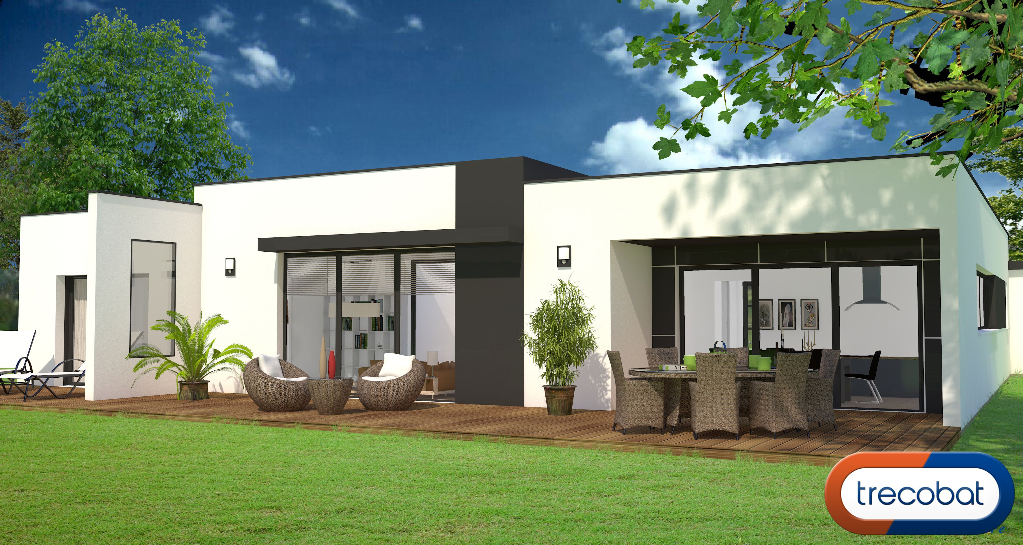 voici un avant projet de plain pied avec une belle terrasse projet maison. Black Bedroom Furniture Sets. Home Design Ideas