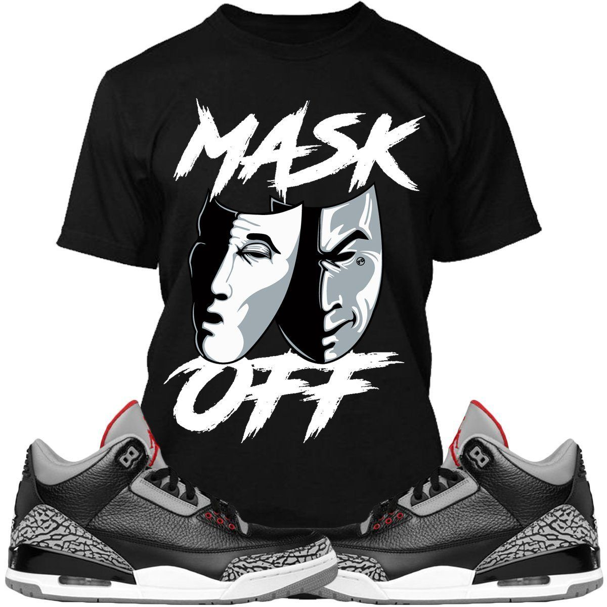 the best attitude ae3b8 fbb08 Jordan 3 Black Cement Sneaker Tee Shirt to match made by Planet Grapes  Clothing. Shirt