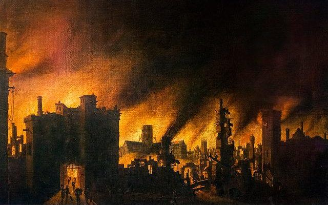 350th Anniversary 2-5 September 2016 - The Great Fire of London in 1666, oil on canvas, from an original by Jan Griffier the Elder, c.1670-1678. St Paul's Cathedral can be seen amongst the flames in the distance