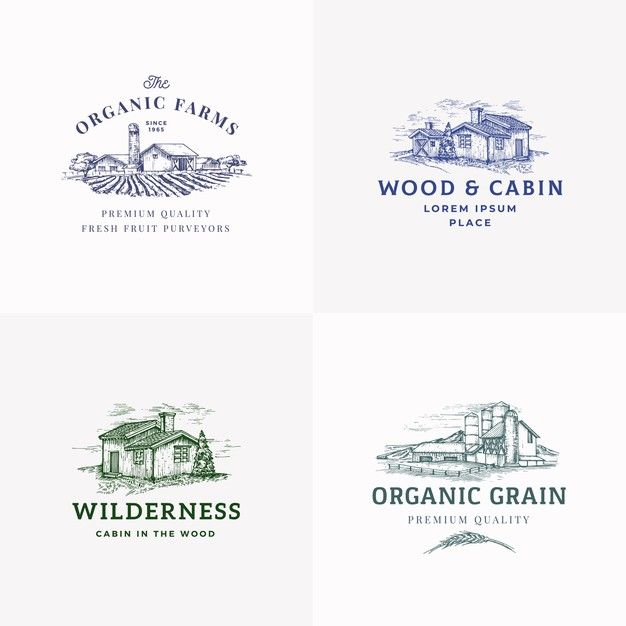 The Organic Grain Elevator Abstract Sign Symbol Or Logo Template: Download Farms And Cabins Abstract Signs, Symbols Or Logo