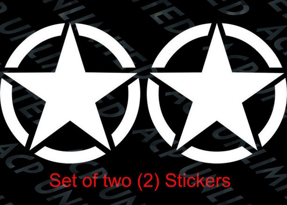 """Two 6/"""" Custom Vinyl Willys Jeep Army Star Car Window Decal Sticker 2"""