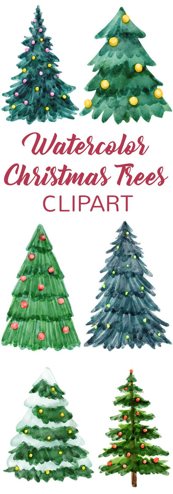 Watercolor Christmas Tree Collection Clipart Tree Clipart Etsy In 2020 Watercolor Christmas Tree Christmas Tree Drawing Christmas Tree Clipart