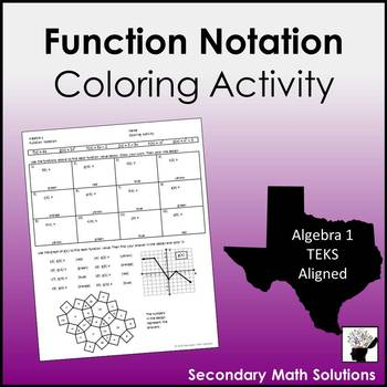 Function Notation Coloring Activity Color Activities Algebra Activities Notations