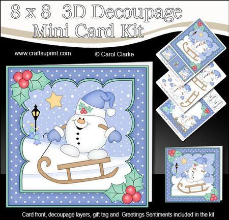 8x8 Christmas Sledging Snowball Sam Mini Kit 3D Decoupage on Craftsuprint - View Now!