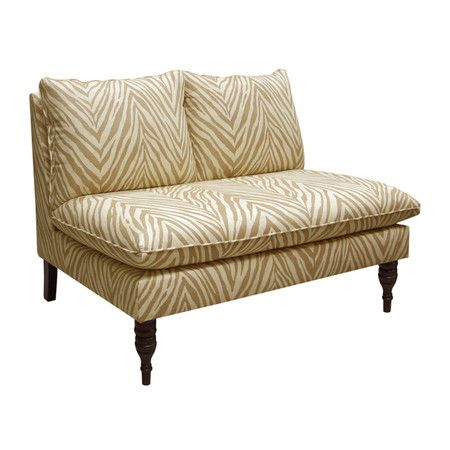Lend a touch of exotic appeal to your living room or master suite with this pine wood settee, featuring foam cushioning and zebra-print upholstery. Handmade ...