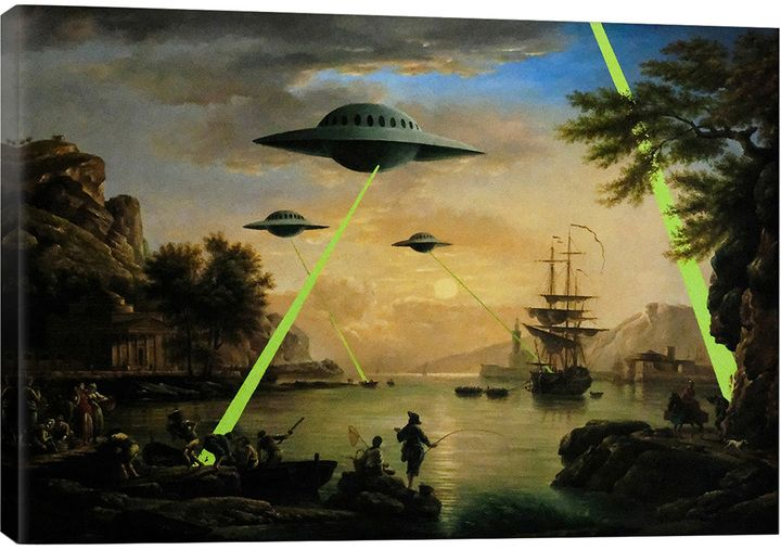 Flying Saucers Aliens by Banksy (Canvas) | Banksy canvas, Flying ...