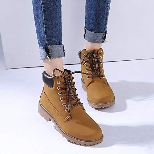 3aee3c34ae Gyoume Hiking Boots Women Lace Up Boots Shoes Flat Wedge Boots Winter Ankle  Boots Shoes Outdoor